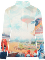 Opening Ceremony Syd Printed Stretch-mesh Top - Sky blue