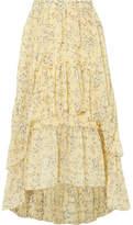 Ulla Johnson Marilyn Asymmetric Ruffled Floral-print Silk-georgette Skirt - Yellow