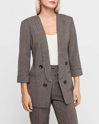 Express Check Print Collarless Double Breasted Blazer