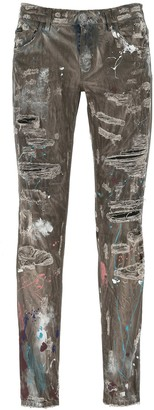 Dolce & Gabbana Distressed Paint Splatter Jeans