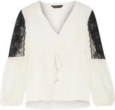 Rachel Zoe Maeve lace-paneled silk-crepe top
