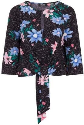 Dorothy Perkins Womens *Girls On Film Black Spot Floral Tie Top, Black