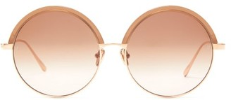 Linda Farrow Annie Round Rose-gold Plated Titanium Sunglasses - Womens - Brown