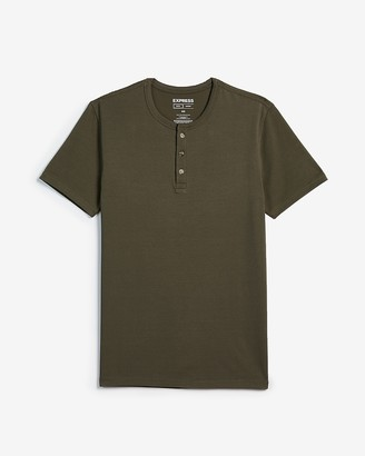 Express Slim Supersoft Short Sleeve Henley T-Shirt