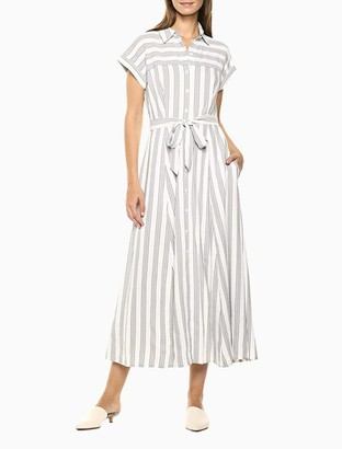 Calvin Klein Striped Button-Front Belted Maxi Shirt Dress