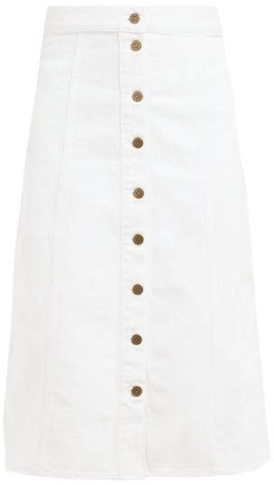 MiH Jeans Panton High Rise Denim Midi Skirt - Womens - White