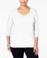 Karen Scott Plus Size V-Neck Top, Only at Macy's