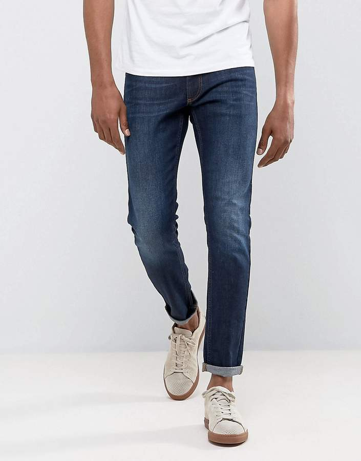Versace Slim Fit Jeans In Darkwash Blue