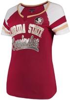 New Era Women's 5th & Ocean by Garnet Florida State Seminoles Baby Jersey Split Scoop Neck Ringer T-Shirt