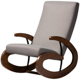 Baxton Studio Allyn Contemporary Walnut Rocking Chair, Gray