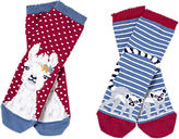 Fat Face Girls' Llama Socks, Pack of 2, Red/Blue