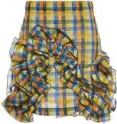 MSGM Yellow Gingham Ruffle Mini Skirt