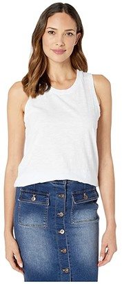 Mod-o-doc Slub Jersey Crew Neck Easy Fit Layering Tank Top (White) Women's Clothing