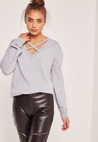 Missguided Grey Cross Front Sweatshirt