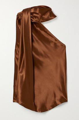 The Range - Convertible One-shoulder Satin Top - Tan