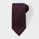 Paul Smith Men's Navy And Burgundy Dogtooth Silk Tie