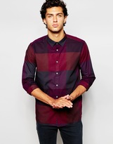 Ted Baker 90's Inspired Large Check Shirt In Slim Fit - Red