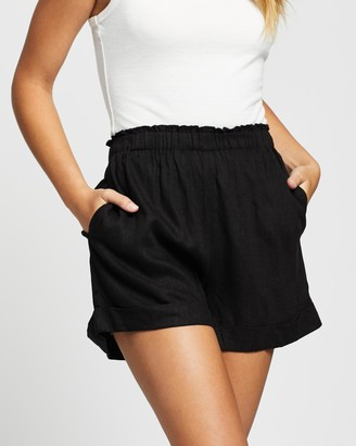 Atmos & Here Atmos&Here - Women's Black High-Waisted - Kinsley Linen Shorts - Size 6 at The Iconic