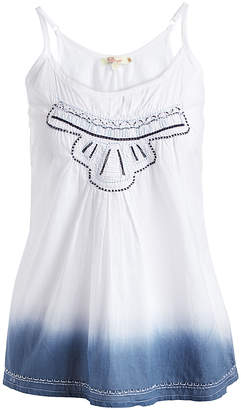 Aryeh Women's Tank Tops Navy/White - White & Navy Ombre Embroidered Sheer Camisole - Women