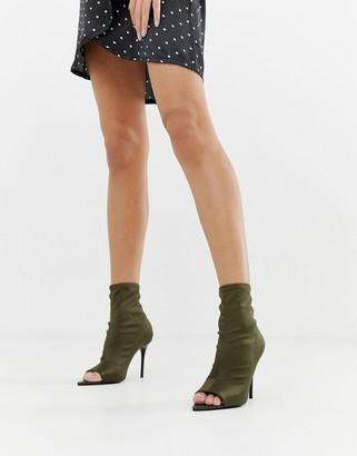ASOS DESIGN Esther stiletto open toe sock boots in khaki