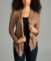 Taupe Gray Studded Shoulder Open Cardigan