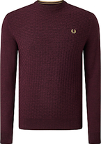 Fred Perry Oxford Texture Merino Wool Crew Neck Jumper, Port Marl