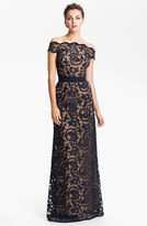 Lace Overlay Off Shoulder Gown