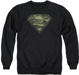Superman DC Comics Camo Logo Distressed Adult Crewneck Sweatshirt