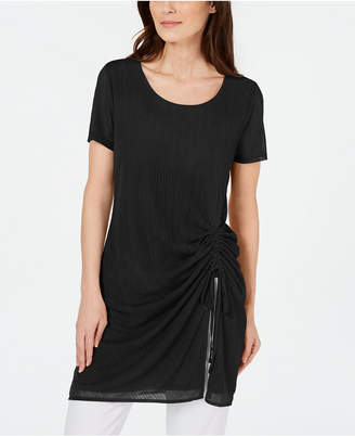 Alfani Illusion-Stripe Side-Ruched Tunic Top