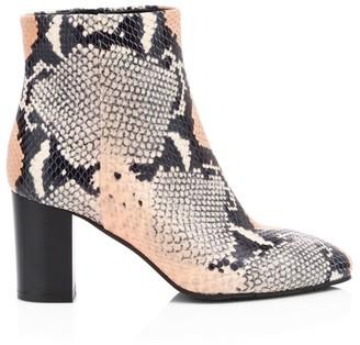 Aquatalia Florita Snakeskin-Embossed Leather Ankle Boots