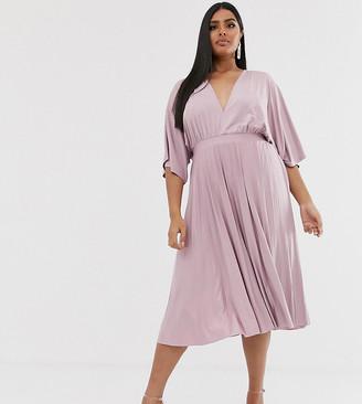 Asos DESIGN Curve Exclusive Pleated Slinky Kimono Midi Dress