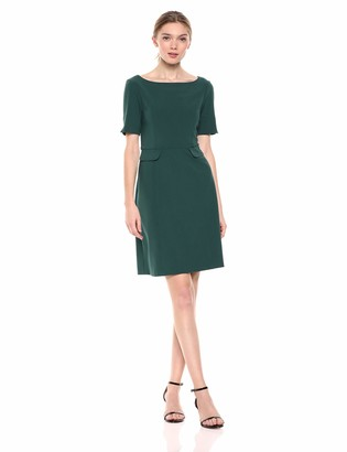 Lark & Ro Women's Short Sleeve Bateau Neck Sheath Dress with Pockets