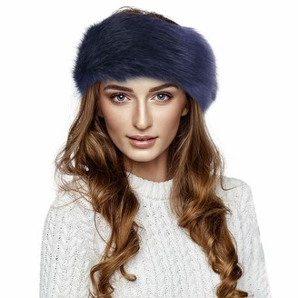 Amaone Winter Warm Hat for Women - Faux Fur Bomber Hats Thicken Fluffy Imitation Fur Hat Headband Russian Winter Thick Warm Ears Bomber Hat Faux Fur Caps Navy