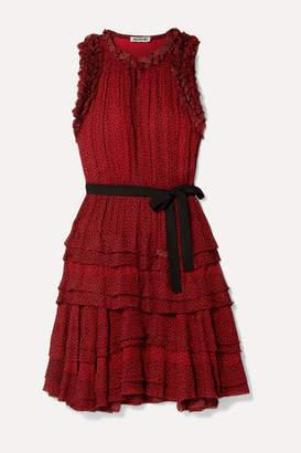 Jason Wu Tiered Ruffled Printed Chiffon Mini Dress