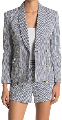 Derek Lam Myla Striped Double Breasted Crop Blazer