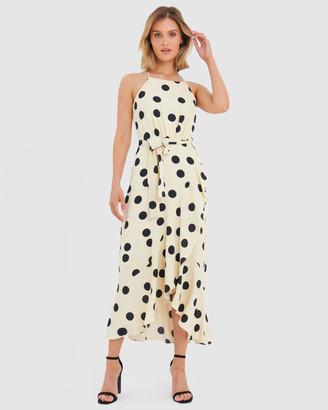 Forcast Olivia Polkadot Asymmetric Maxi Dress