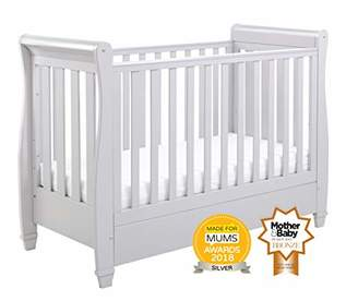 Babymore Eva Sleigh Cot Bed Dropside with Drawer (Grey)