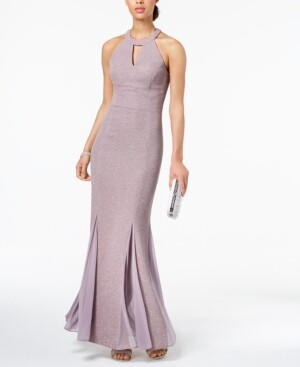 Night Way Nightway Glitter-Knit Teardrop Gown