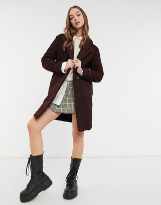 New Look teddy boucle tailored coat in burgundy