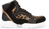 DKNY Paisley suede, leather and printed calf hair sneakers