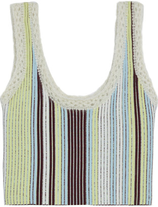 3.1 Phillip Lim Cropped Crochet-trimmed Striped Jacquard-knit Tank