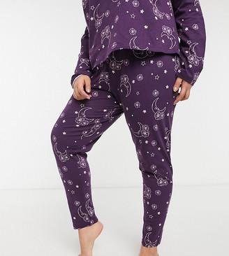 ASOS DESIGN Curve exclusive mix & match tarot pajama leggings in purple