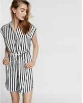 Express stripe short sleeve shirt dress