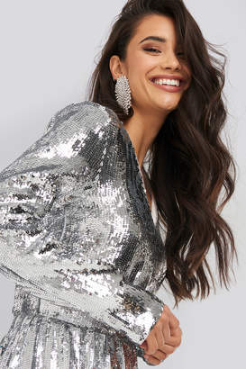 NA-KD Heavy Long Sleeve Sequin Dress Silver