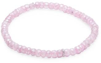 Sydney Evan 14K White Gold, Mystic Pink Grapolite & Diamond Eternity Spacer Beaded Bracelet