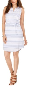 Style&Co. Style & Co Cotton Striped Split-Neck Sleeveless Dress, Created for Macy's