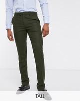 Harry Brown Tall wedding tweed heritage suit trousers-Green