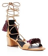 Rebecca Minkoff Isla Lace Up Tassel Mid Heel Sandals