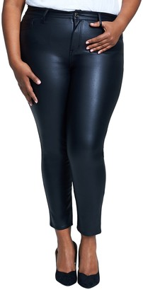 Seven7 High Rise Coated Ponte Skinny Pants (Plus Size)