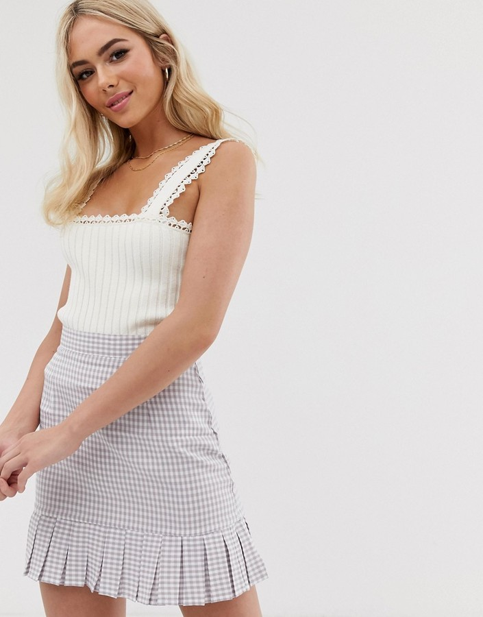 ASOS DESIGN knitted vest with square neck and crochet trim